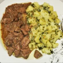 Sauteed Chicken Livers With Onions - Served With Potato Salad