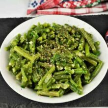 Green Bean Salad With Garlic Cream-Served in Bowl With Ground Pepper on Top