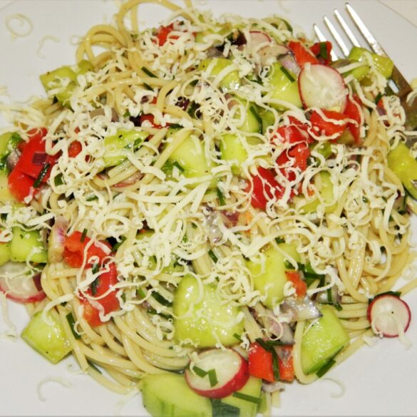Best Spaghetti Salad Recipe-Served on the Plate with Grated Cheddar