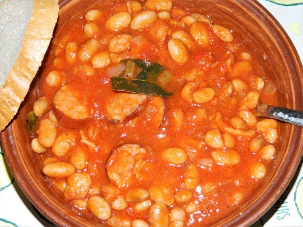 Chorizo Sausage and Beans Casserole-Served in Bowl With Fresh Bread