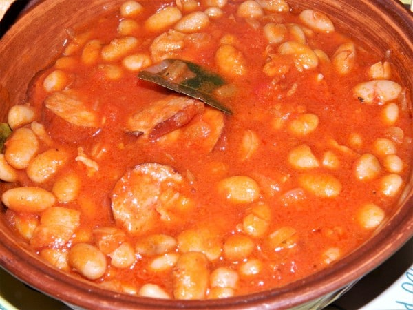Chorizo Sausage and Beans Casserole-Served in Bowl With Bread
