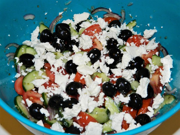 The Best Greek Salad Recipe-Feta Cheese, Olives, Tomatoes, Cucumber and Onion in Greek Salad