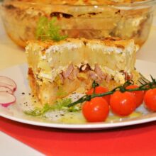 Best Cheesy Potato Casserole Recipe-Served on Plate With Cherry