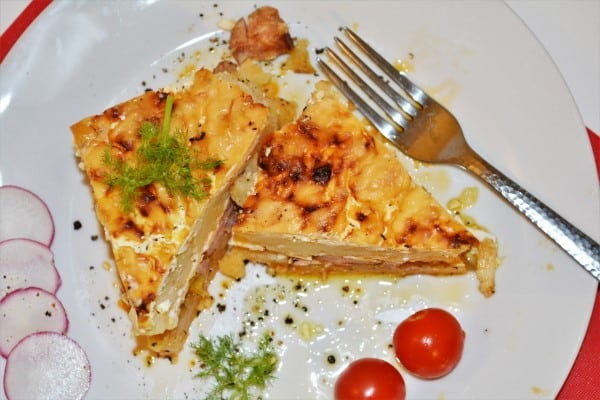 Best Cheesy Potato Casserole Recipe-Served on Plate With Radishes