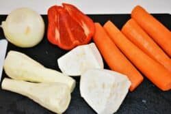 Best Creamy Chicken Soup Recipe-Carrots, Parsley Roots, Celery Root, Onion and Bell Pepper