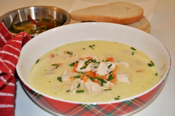 Best Creamy Chicken Soup Recipe-Served in Bowl With Bread and Pickled Chilli