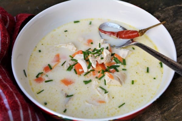 Best Creamy Chicken Soup Recipe-Served in Bowl With Chilli