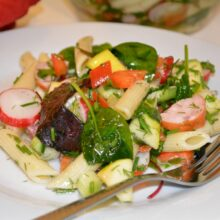 Easy Cold Pasta Salad Recipe-Served on the Plate