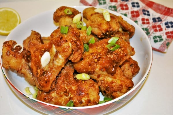 Honey and Garlic Chicken Wings Recipe-Served in Bowl With Chopped Spring Onions