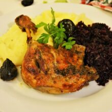 Best Braised Duck Legs Recipe-Served With Mashed Potatoes and Sauteed Red Cabbage