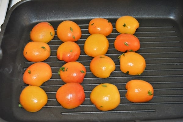 Grilled Apricot Salad Recipe-Grilling Apricots Cut in Two