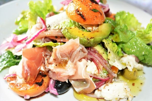 Grilled Apricot Salad Recipe-Served on the Plate With Balsamic Vinegar