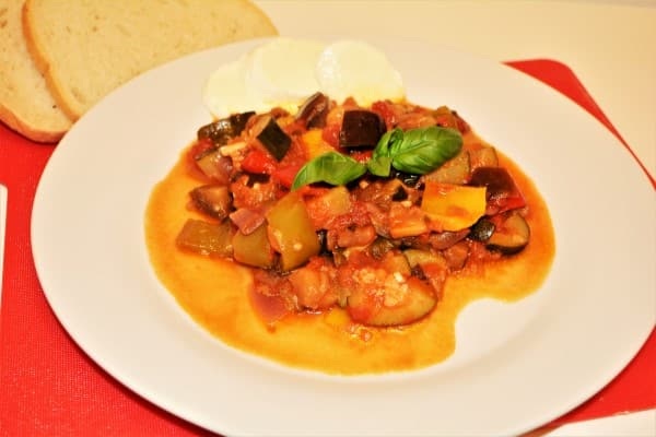 World Best Ratatouille Recipe-Served on Plate With Bread
