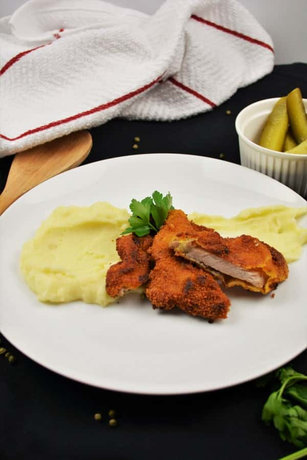 Fried Breaded Pork Chops Recipe-Served With Mashed Potatoes and Pickled Cucumber