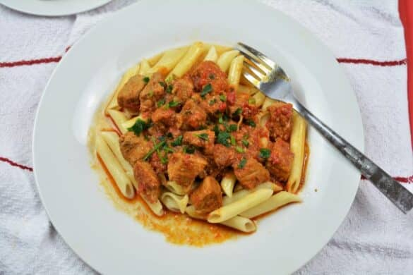 Simple Pork Tenderloin Stew Recipe-Served With Penne Pasta
