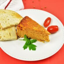 The Best Turkey Meatloaf Recipe-Served on Plate With Toast and Cherry Tomatoes