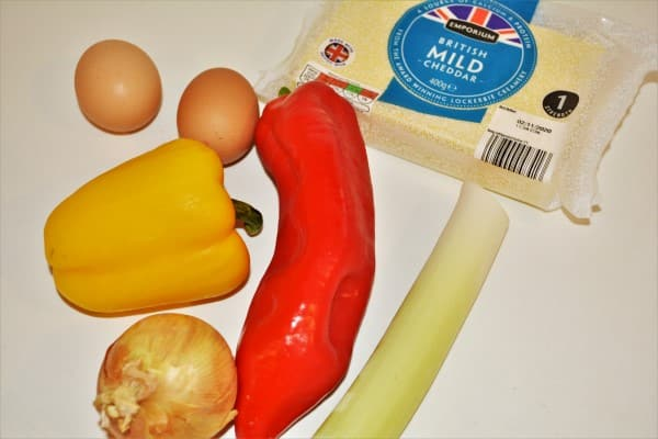 Basic Easy Meatloaf Recipe-Eggs, Onion, Leek, Peppers and Cheddar Cheese