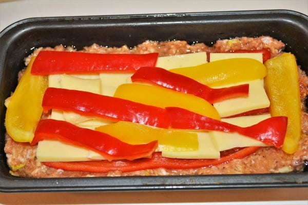 Basic Easy Meatloaf Recipe-Peppers Strips and Cheddar Slices on the Meat