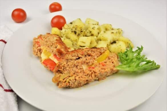 Basic Easy Meatloaf Recipe-Served on Plate With Boiled Potatoes