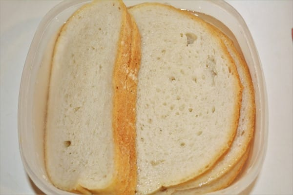 Basic Easy Meatloaf Recipe-Soaking Slices of  Bread