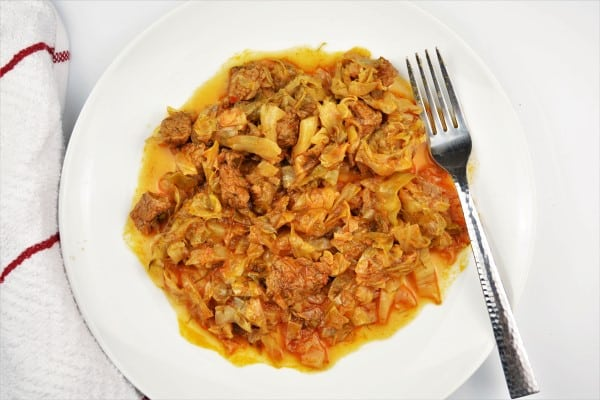Beef and Cabbage Stew Recipe-Served on Plate