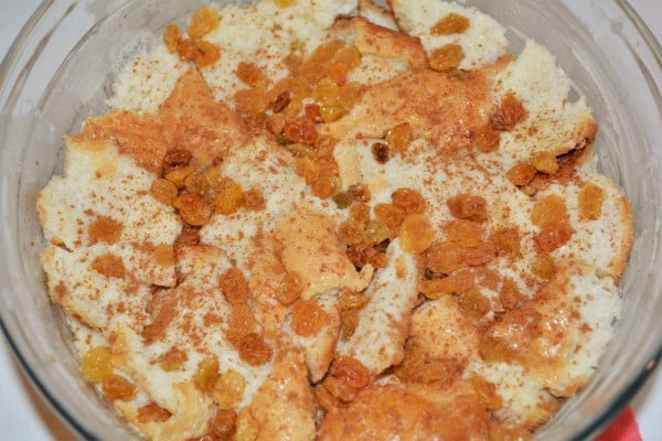 Best Simple Bread Pudding Recipe - Cinnamon and Raisins Over the Soaked Bread Cubes