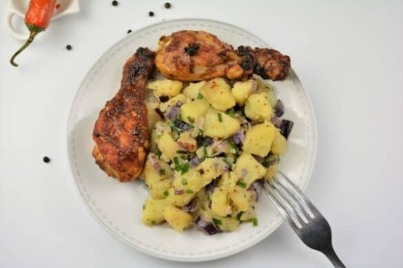 Best Simple Potato Salad Recipe-Served on Plate With Roasted Chicken Drumstick