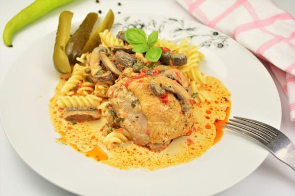 Creamy Homemade Chicken Stew Recipe -Served on Plate With Fusilli Pasta