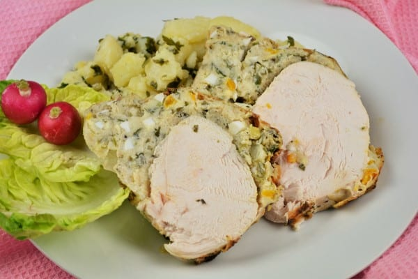 Baked Stuffed Whole Chicken Recipe-Served on Plate With Boiled Potatoes