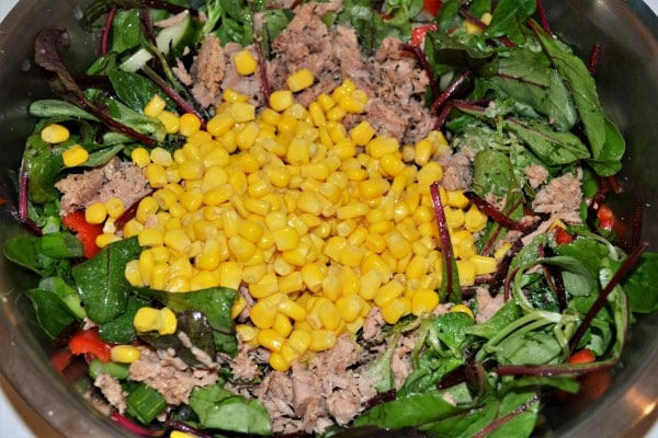 Simple Tuna And Pasta Salad Recipe - All Vegetables, Sweetcorn and Tuna Chunks in the Bowl