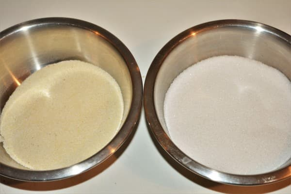 The Best Russian Cheesecake Recipe - Semolina and Sugar in Different Bowls