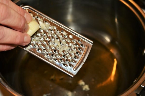 Easy Homemade Refried Beans Recipe-Grated Garlic in the Pot