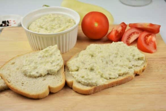Grilled Eggplant Dip Recipe-Served With Bread and Tomatoes