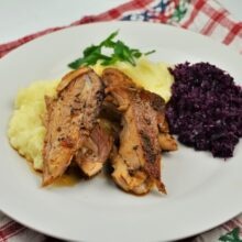Oven Baked Turkey Legs Recipe-Served With Mashed Potatoes and Red Cabbage