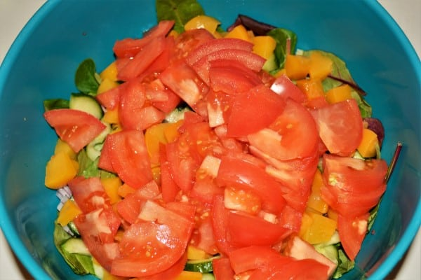 Best Leftover Turkey Salad Recipe-Sliced Tomatoes Over Ingredients in the Bowl