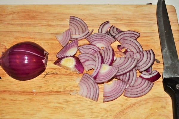 Best Leftover Turkey Salad Recipe-Slicing the Red Onion