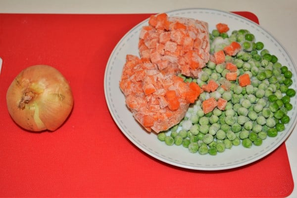 Simple Turkey Fried Rice Recipe-One Onion and Frozen Carrots and Peas