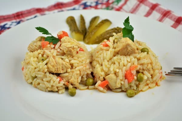 Simple Turkey Fried Rice Recipe-Served on Plate With Pickled Cucumber