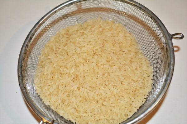 Simple Turkey Fried Rice Recipe-Washed Rice in the Sieve
