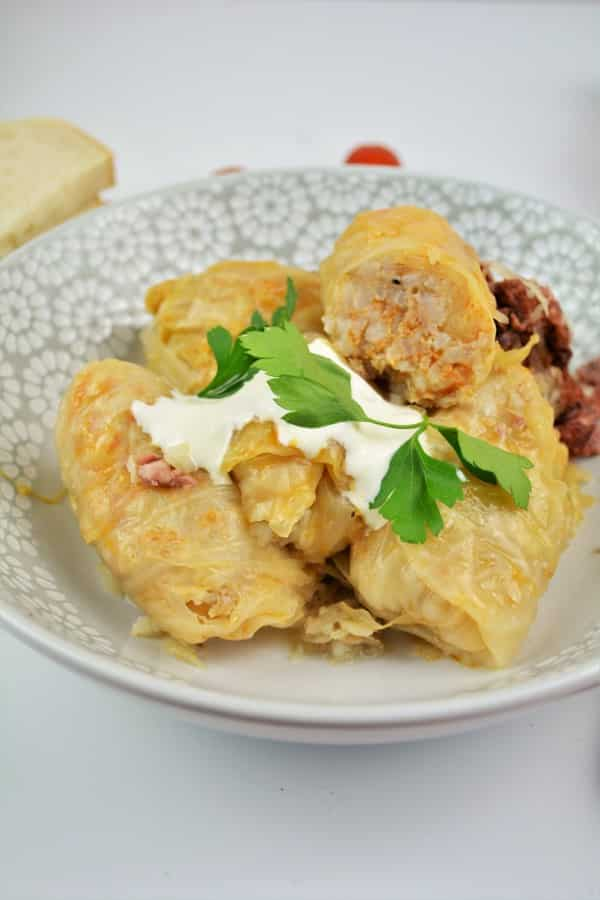 Best Hungarian Stuffed Cabbage Rolls Recipe-Served on Bowl With Sour Cream