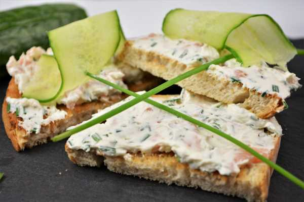Best Smoked Salmon Cream Cheese Recipe-Served on Toast With Cucumber Thin Slices