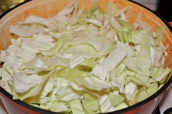 Cabbage Soup With Pork Meat-Add the Sliced Cabbage Over the Fried Pork Meat in the Pot