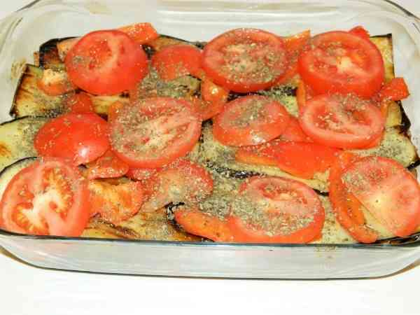 Best Eggplant Casserole Recipe-Fourth Layer of Moussaka is Seasoned Tomatoes and Bell Pepper Slices