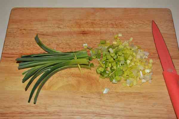 Chicken Breast With Pineapple-Chopping the Leek