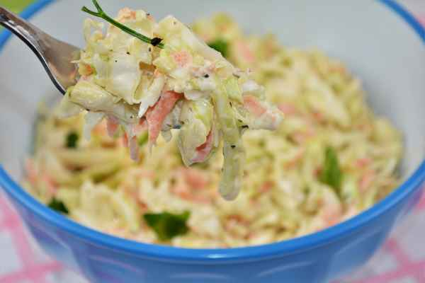 Quick and Easy Homemade Coleslaw Recipe-Served in a Bowl With a Fork