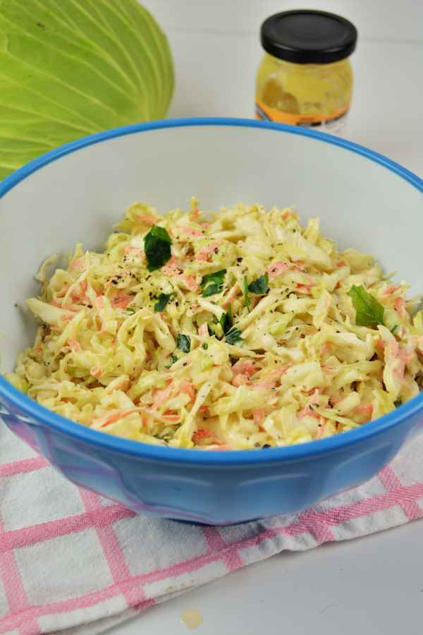 Quick and Easy Homemade Coleslaw Recipe-Served in a Bowl