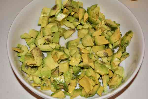 Best Homemade Guacamole Recipe-Chopped Avocados in the Bowl