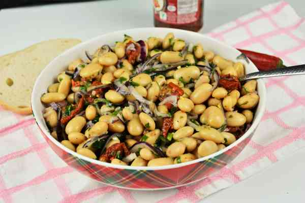 Butter Beans Salad Recipe-Serving in Bowl With Fresh Bread