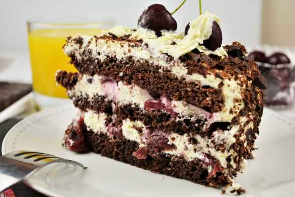 Easy Black Forest Cake Recipe-Cake Slice on the Plate