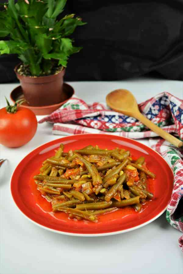 Green Beans in Tomato Sauce-Served on Plate